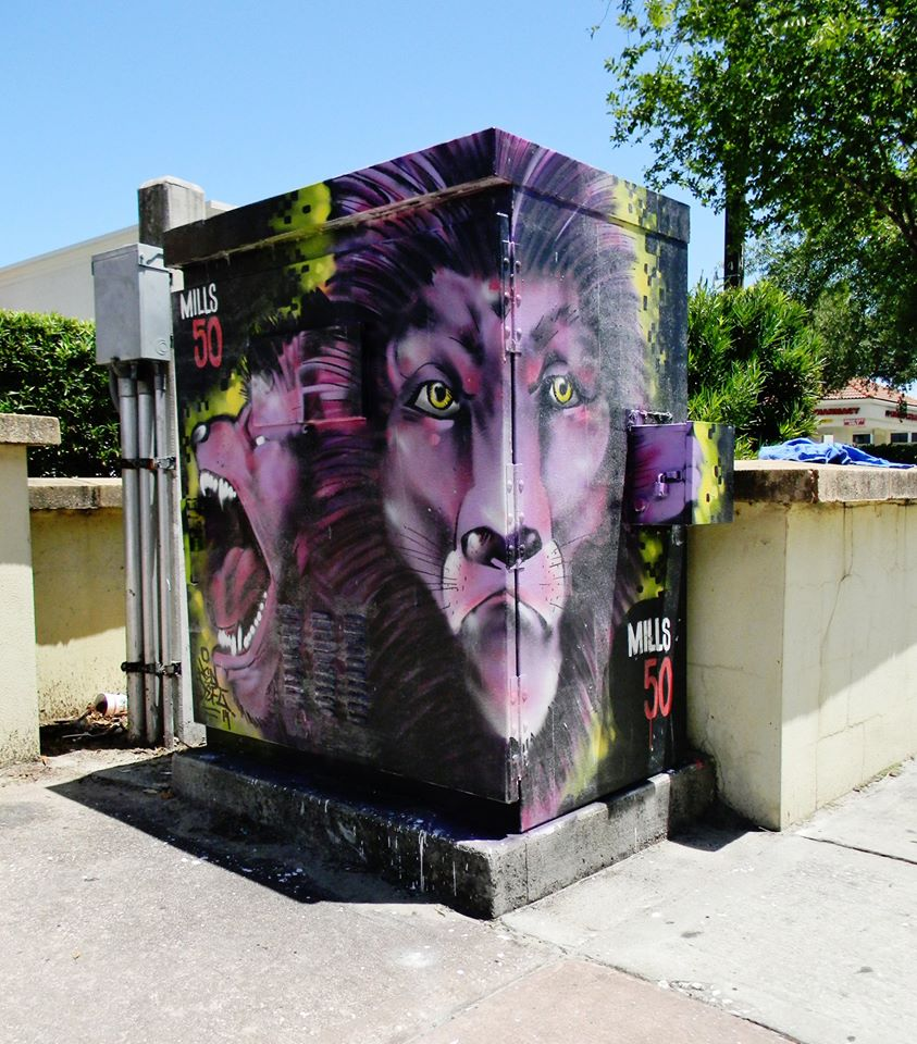Art box sponsored by Orlando City Soccer. Location: Colonial & Bumby.