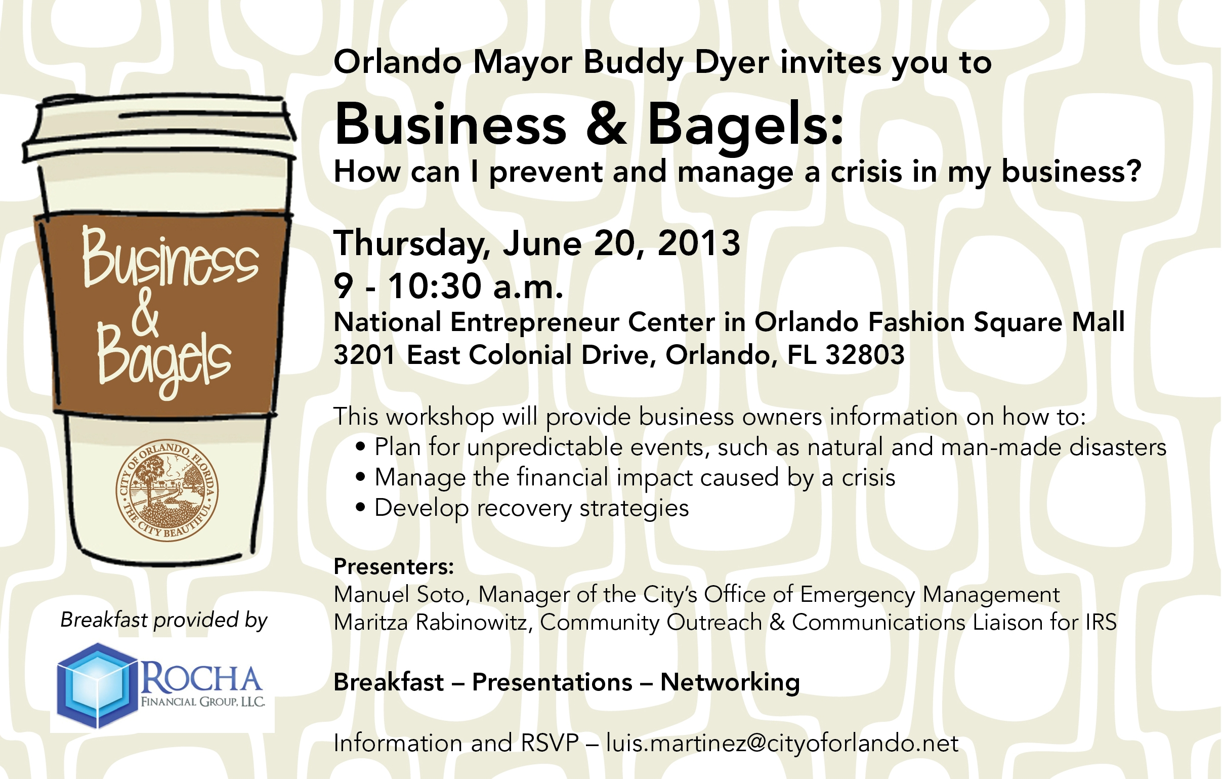 "You're invited to ""Business and Bagels""! 