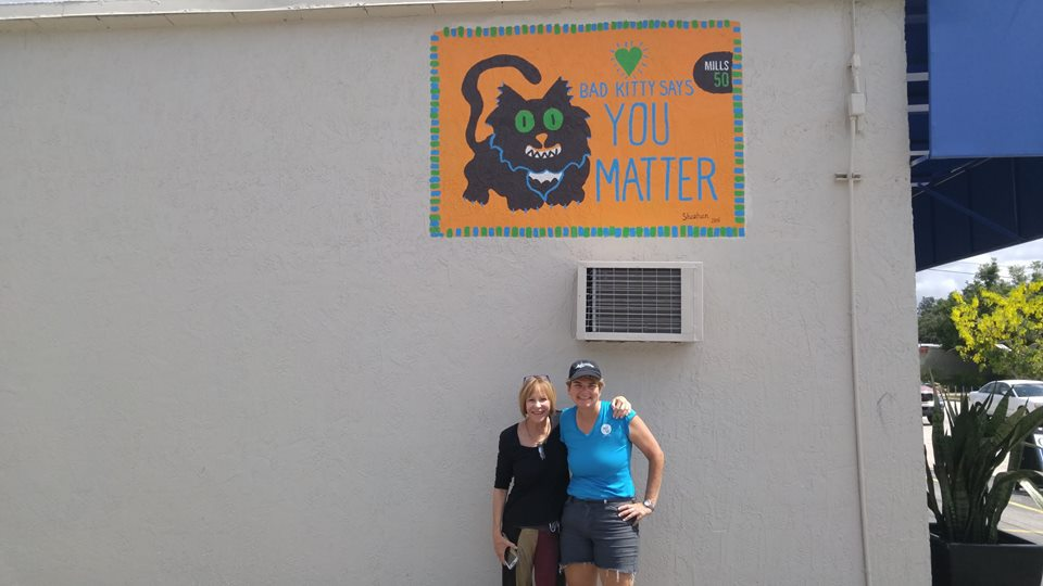 Artist: Patty Sheehan (right).  Location: Orchid Cleaners, 1216 N. Mills.